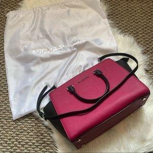 Michael Kors Selma Colorblock Satchel Leather